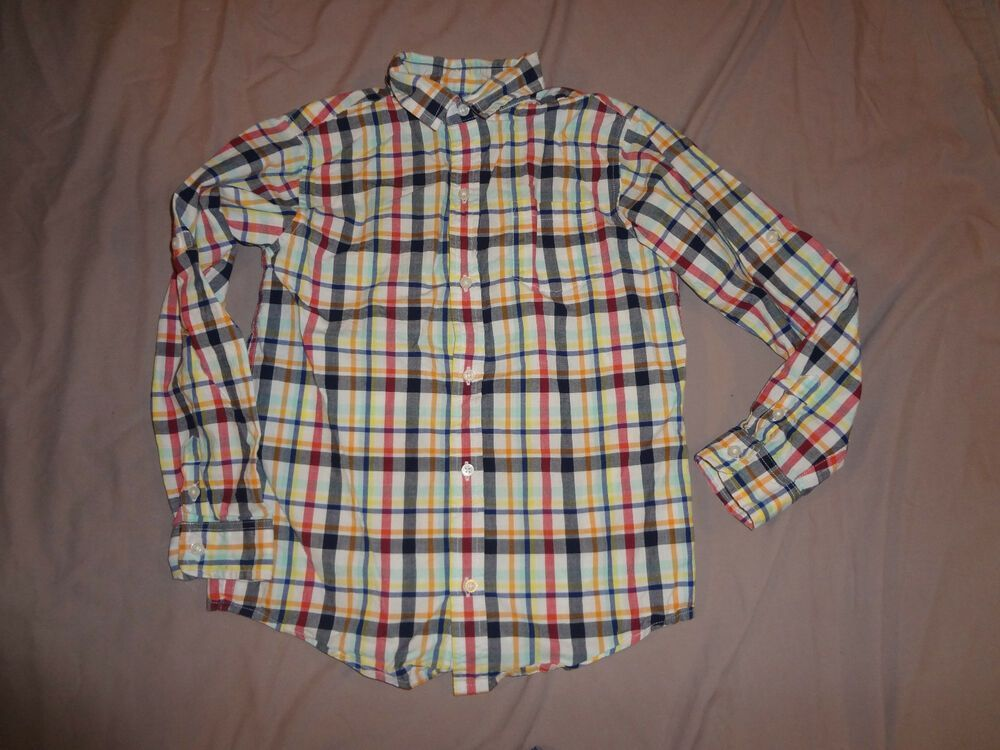 Chaps Set for Baby Boys Yellow Long Sleeve Plaid Button Down Shirt /& Blue Pants