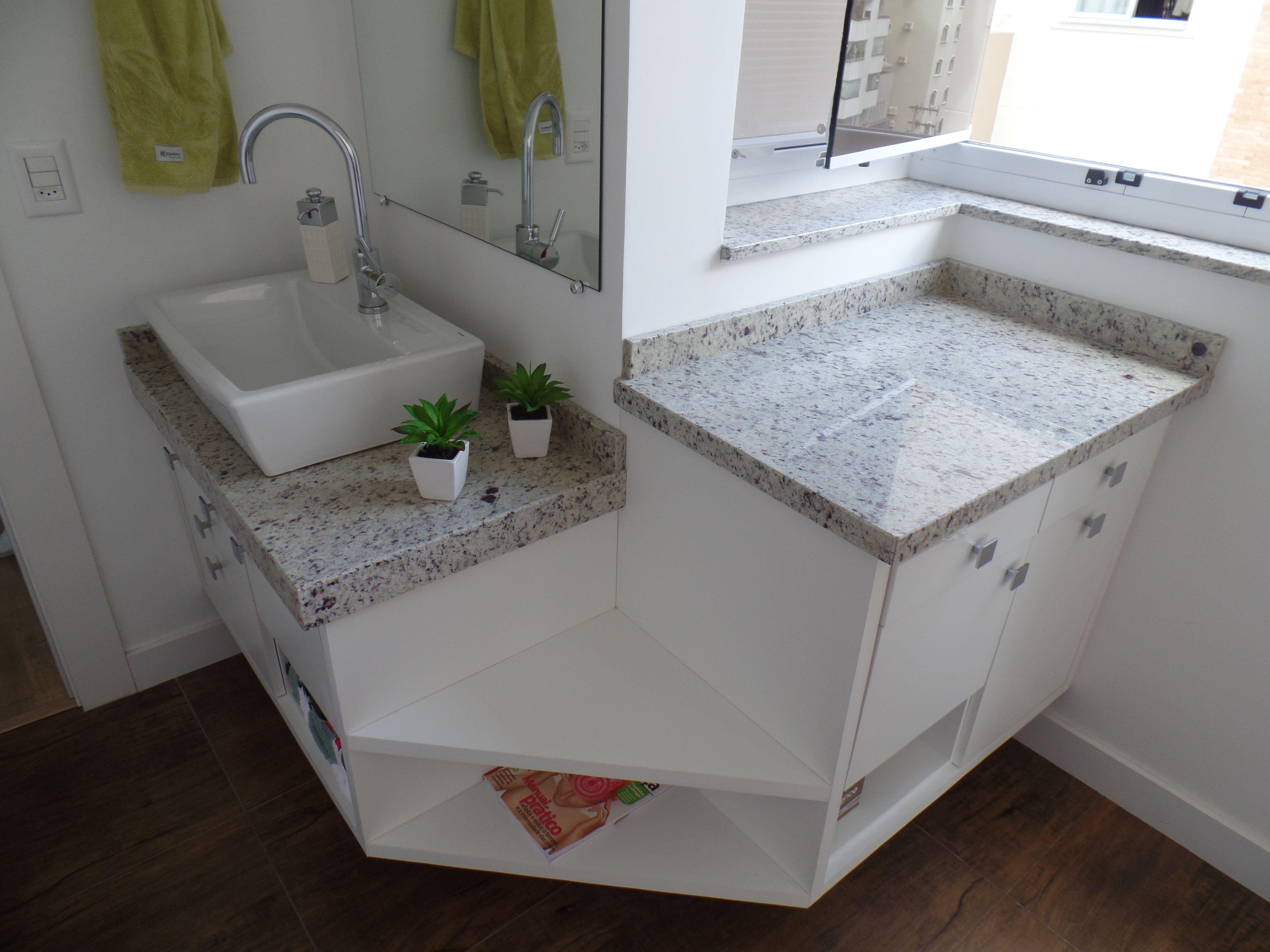 Bancada de Banheiro em Granito Branco Dallas  Banheiros  Pinterest  Bancad -> Bancada De Banheiro Pequeno Em Granito