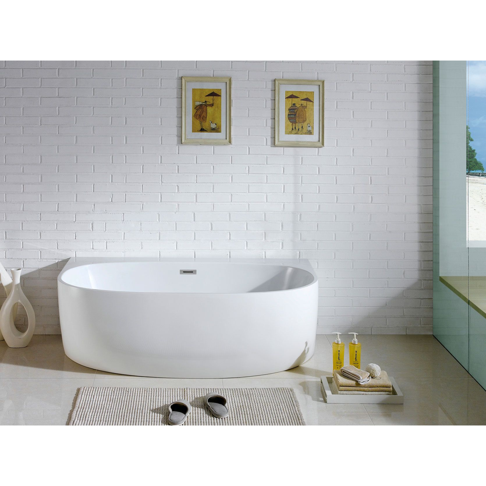 Pacific Collection Monte 58 Inch X 33 White Oval Soaking Bathtub Size Under 60 Inches