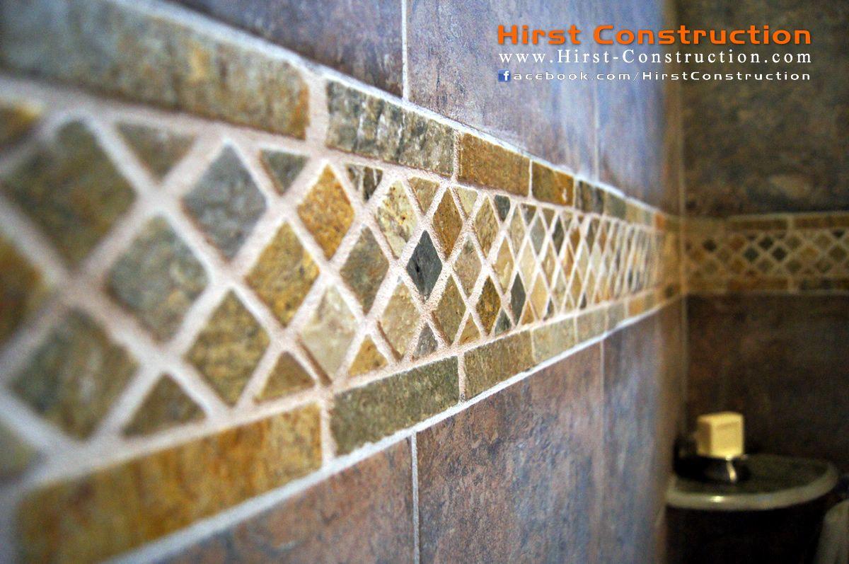 Horizontal quartz tile accent.