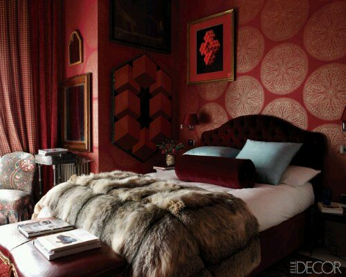 Sumptuous Bedroom Inspiration In Shades Of Silver: Maroon Colored Wallpaper Bedroom
