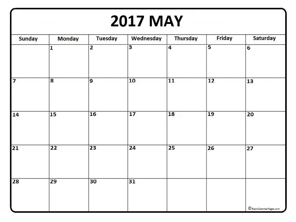 May calendar 2017 printable and free blank calendar Printable - printable monthly calendar sample