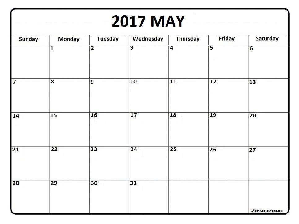 May Calendar  Printable And Free Blank Calendar  Printable