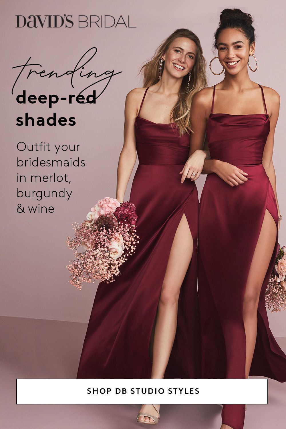 Wine Shades For Maids Are Trending And David S Bridal Has Them All Delicious Hues Of Merlot And Burgund In 2020 Bridesmaid Wedding Bridesmaid Dresses Wedding Dresses