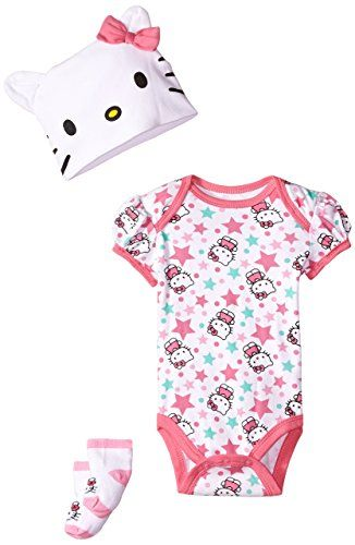 3 Pieces Hello Kitty Baby Girl s Footed Sleeper Bodysuit   Bib Sz M 2888eb1a13f44