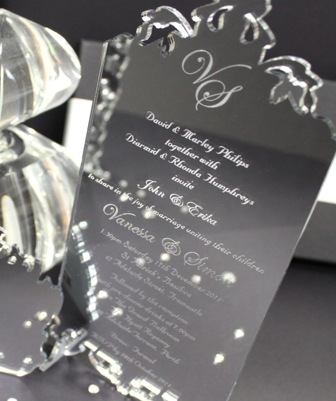 Silver Mirror Acrylic Wedding Invitation Wedding Invitations - Wedding invitation templates: wedding place card size