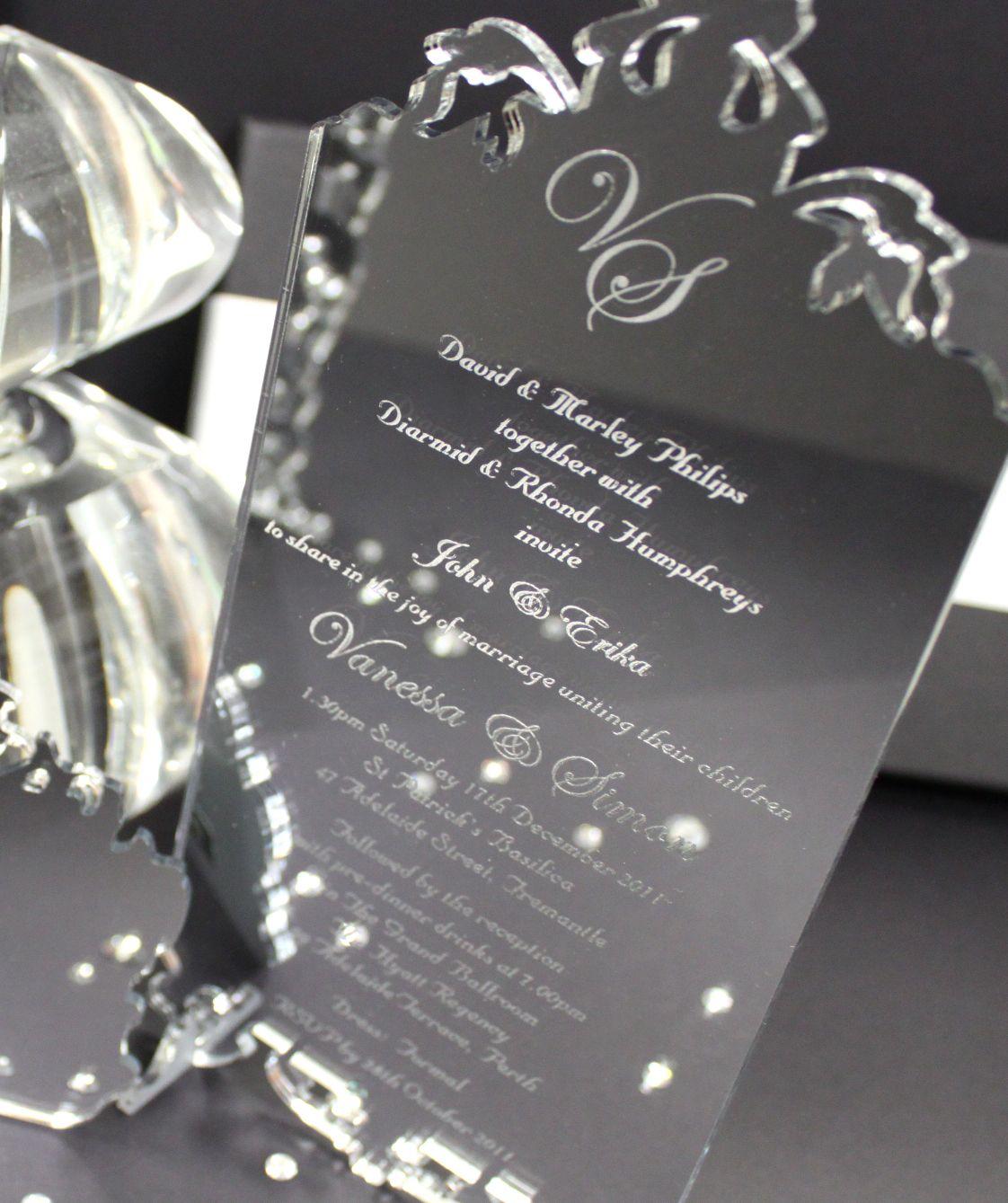 Silver Mirror Acrylic Wedding Invitation | Wedding & Event ...