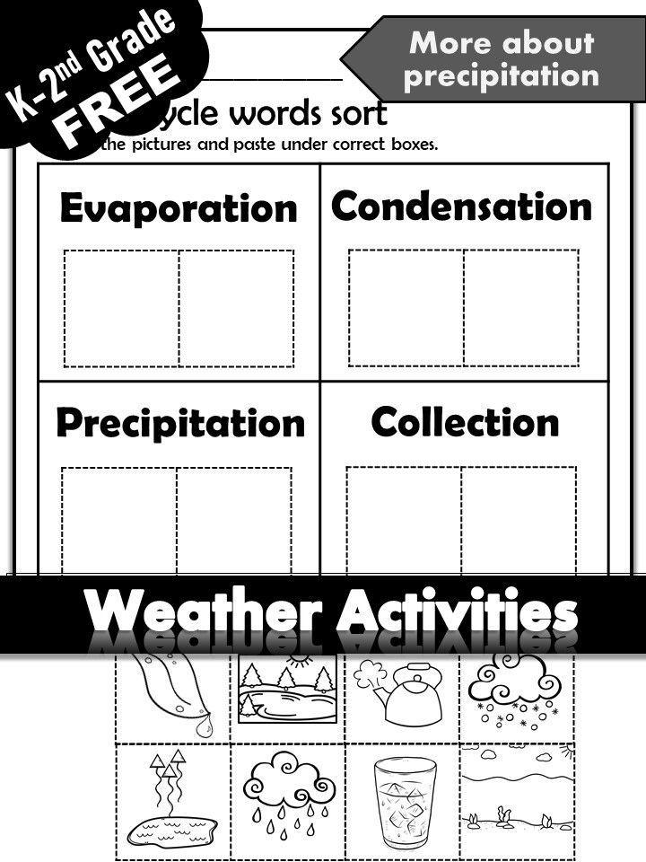 Free Science activities Weather unit for Kindergarten