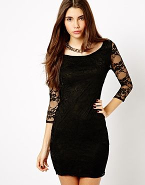 Black dress with lace sleeves new look