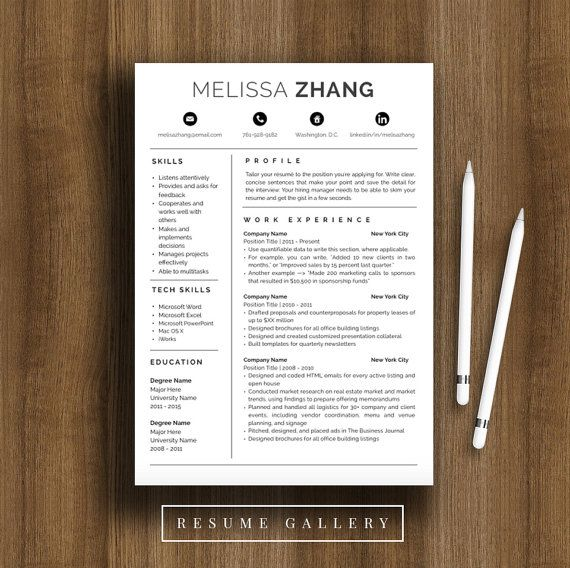 4-Page Professional Resume Template A4 and US Letter CV Template