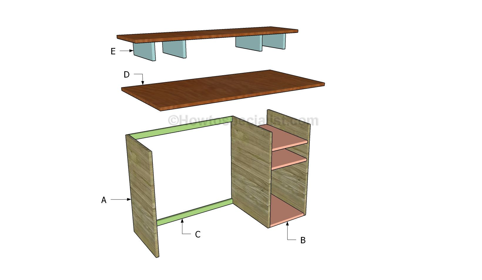 Free Computer Desk Plans Howtospecialist How To Build Step By Step Diy Plans Computer Desk Plans Woodworking Desk Woodworking Desk Plans