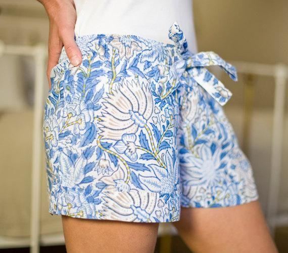 Blue Peonie Bed Shorts #bluepeonies