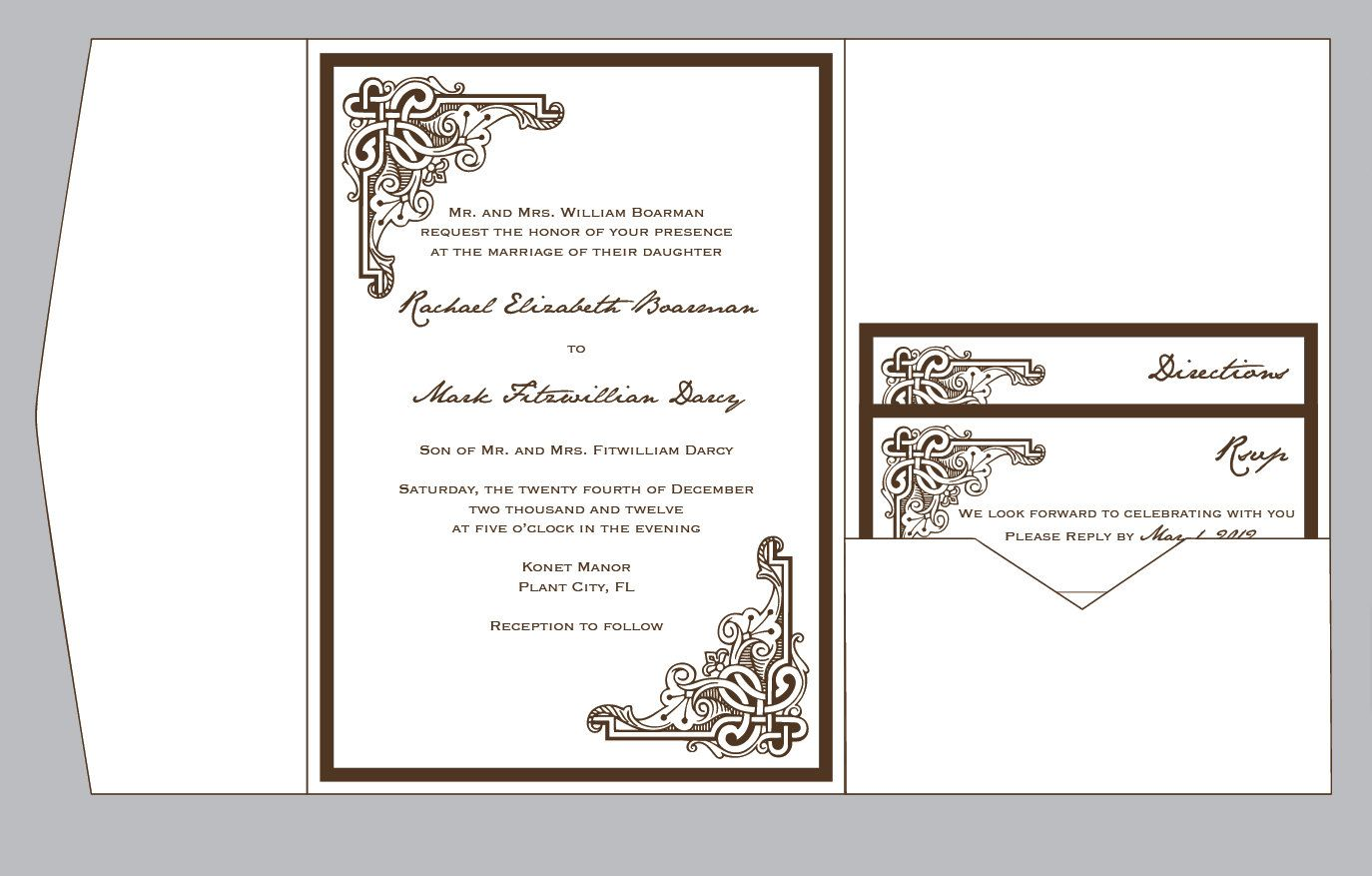Vintage Antique RetroLayered Art Deco Celtic Pocketfold Wedding ...