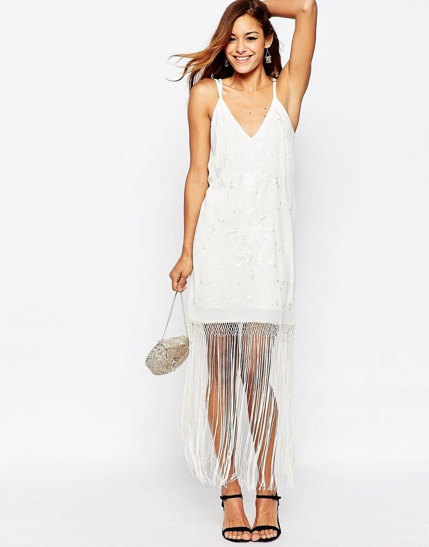 Image 4 of ASOS Embroidered Fringed Cami Midi Dress