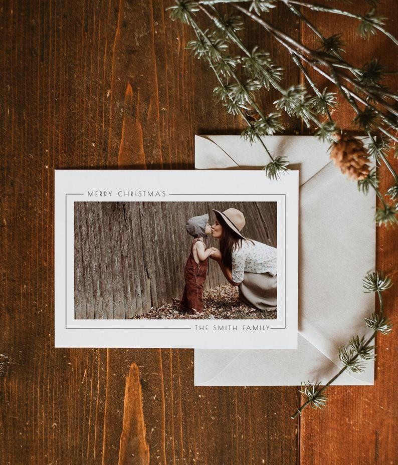Modern Christmas Card Invitation With Photo Have Yourself A Etsy Modern Christmas Cards Modern Christmas Card Photo Christmas Card Invitation
