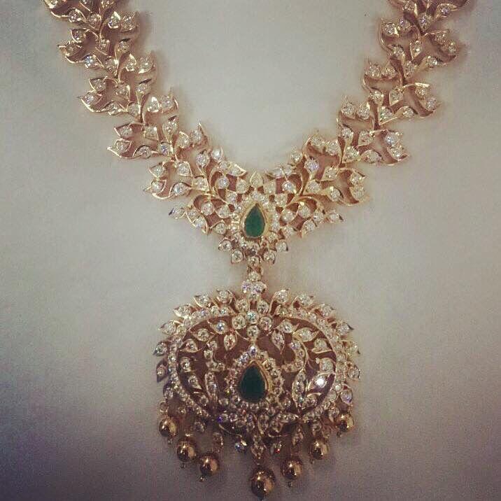 Close Setting Beautiful Diamond Necklace Bridal Jewellery Design Indian Diamond Jewellery Gold Necklace Designs