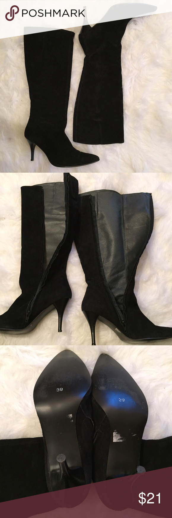 Laura Clement Suede knee-high pointy boots Excellent condition, boots come with original tissue paper. Labeled as size 39 but I'm an 8 and the fit is great! Laura Clement  Shoes Heeled Boots