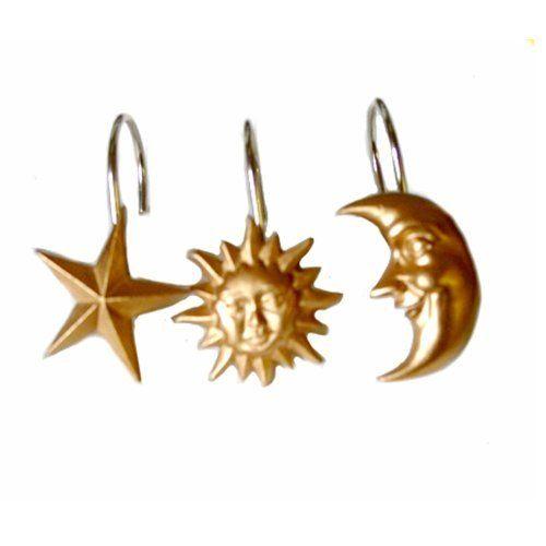 Celestial Moon Star Shower Curtain Hook Ring Bath Decor By
