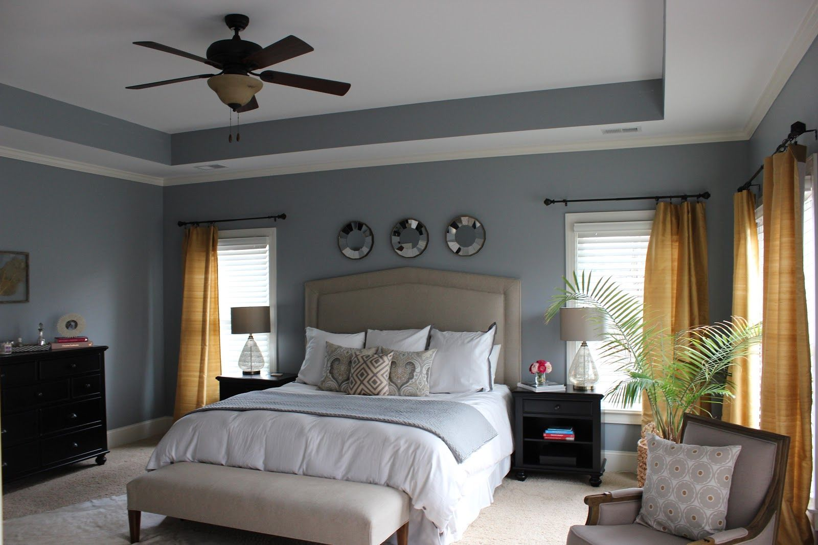 Benjamin Moore Gull Wing Grey Walls Great Master Bedroom: decorating color schemes
