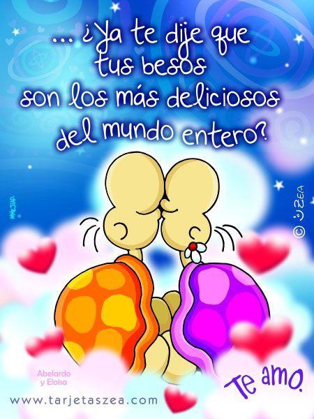 imagen con frase de besos para enamorados -Tortugas Abelardo y Eloisa© ZEA www.tarjetaszea.com