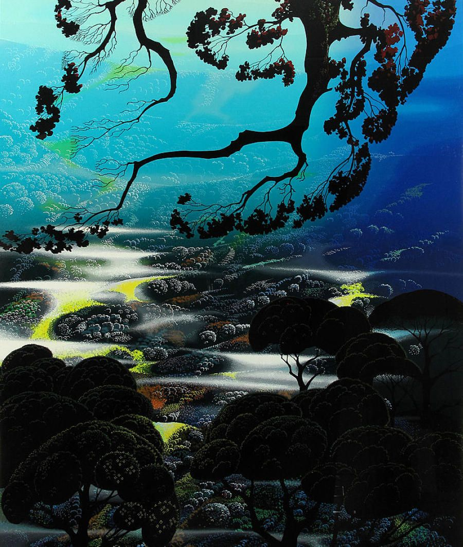 """""""Days End"""" by Eyvind Earle,  Completion Date: 1989,  Place of Creation: United States,  Style: Magic Realism."""