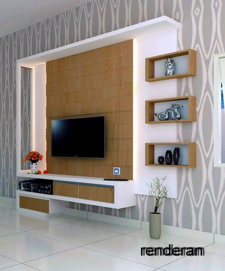Mueble tv tvs pinterest tv units tvs and doors for Lcd wall unit designs for hall