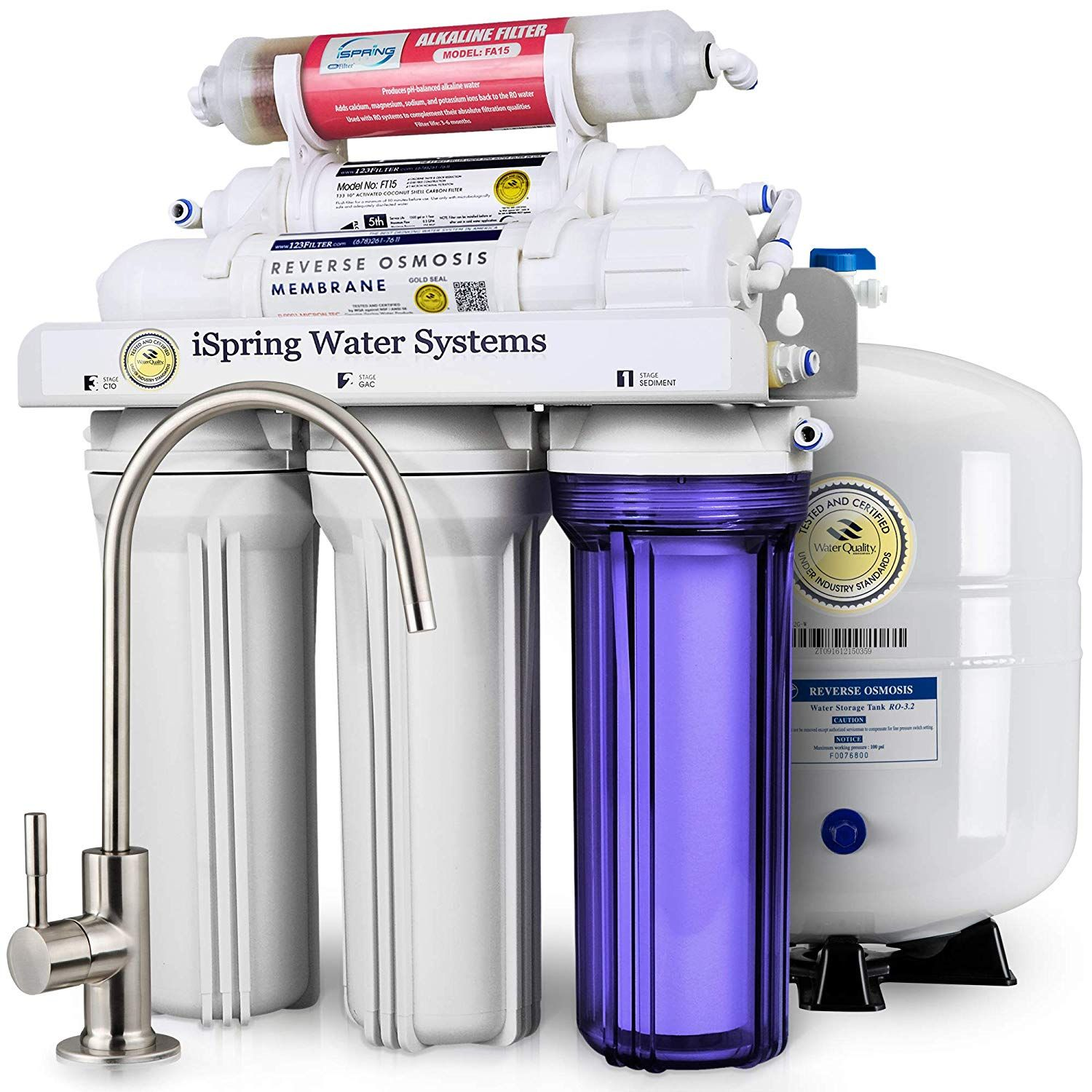 iSpring RCC7AK 6-Stage Under-Sink Reverse Osmosis Drinking Water ...
