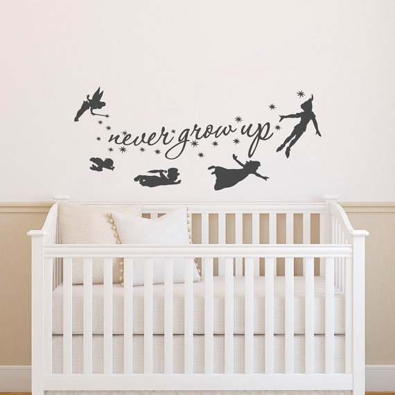 Peter Pan Wall Decal Quote Never Grow Up Quotes Decals Nursery Baby Kids Boys Room Playroom Bedroom Home Decor 018