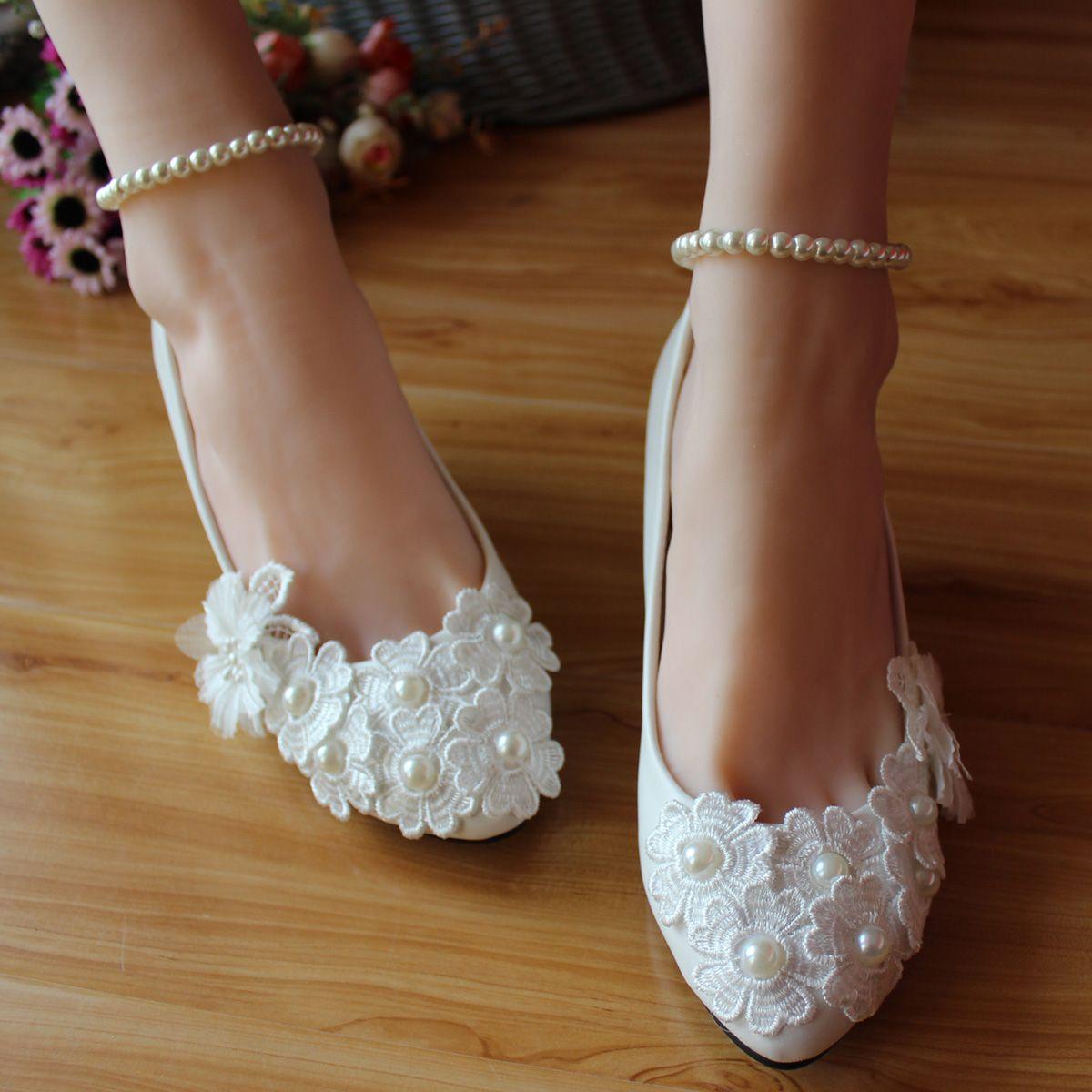 White Pearls Decration Lace Wedding Shoes Bride Handmade Flower