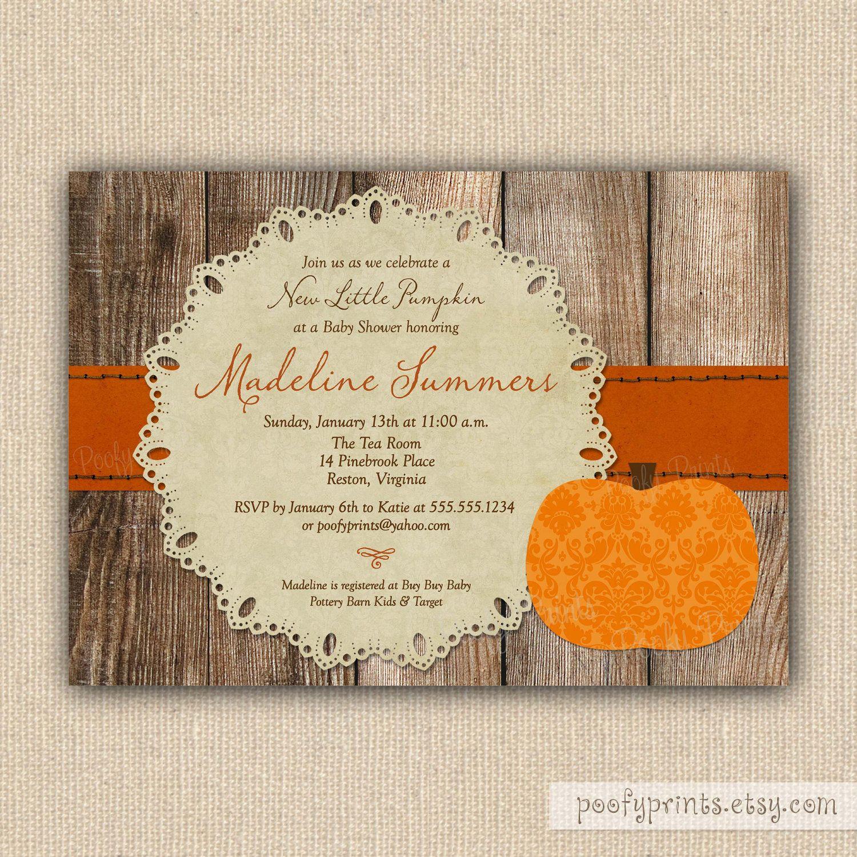 Little Pumpkin Baby Shower Invitations - Rustic Autumn Shower ...