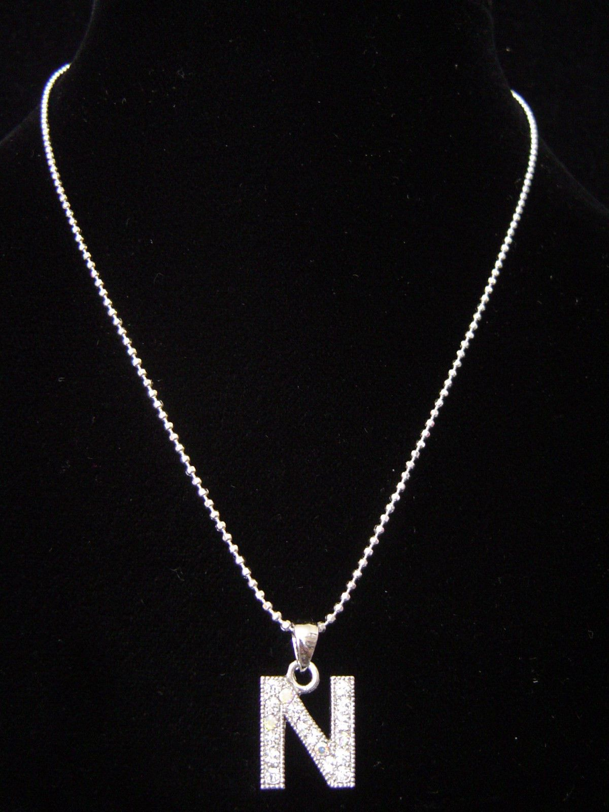 N Letter Initial Alphabet Pendant Charm Necklace Silver Tone Crystal 5 Colors Charm Necklace Silver Necklace Silver Rings Online