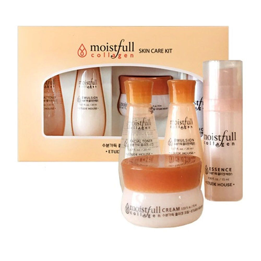 Etude House Moistfull Collagen Skin Care 4pcs Kit Toner Emulsion Essence Cream Etude Collagen Skin Care Skin Care Kit Moistfull Collagen