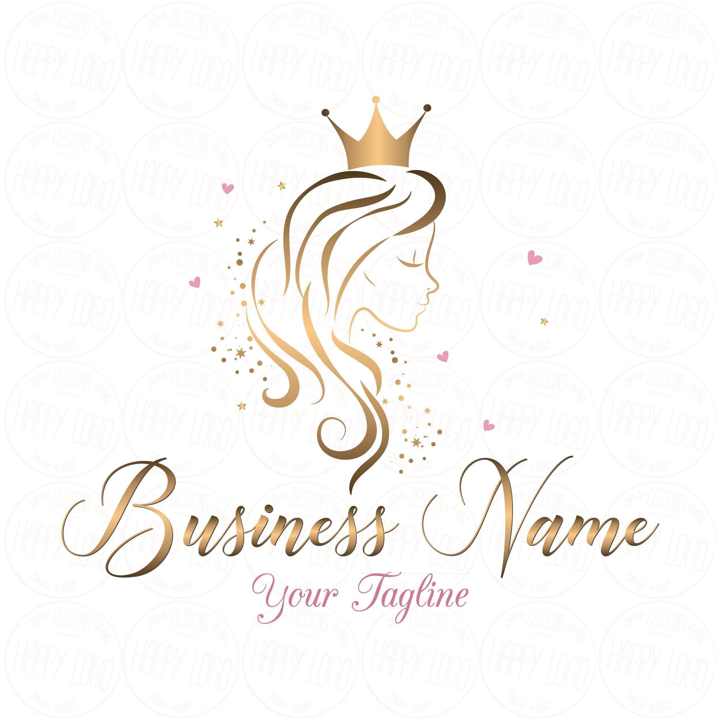 Digital Custom Logo Design Hair Crown Beauty Logo Gold Girl Etsy Hair Logo Hair Logo Design Beauty Salon Logo