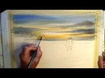 Demo Aquarelle Coucher De Soleil Sunset Watercolor Tutorial
