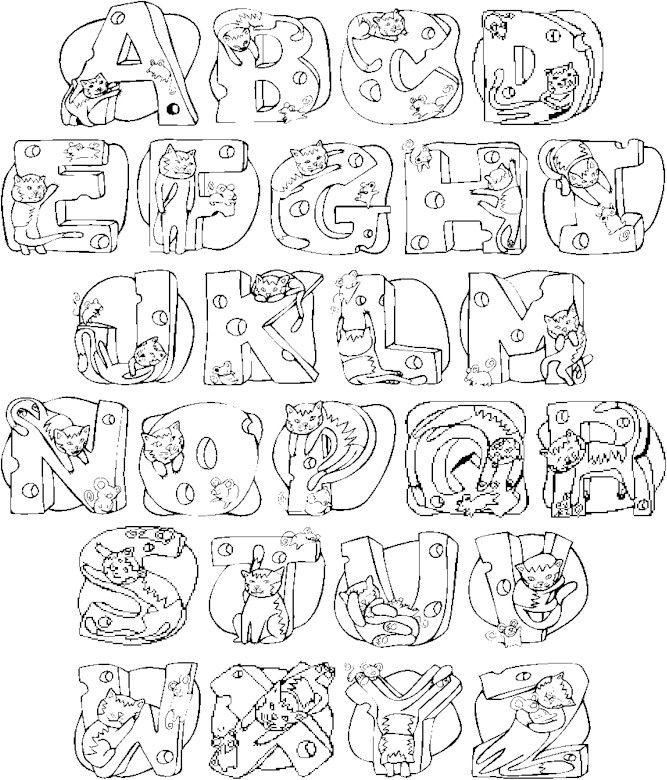 Cats Alphabet Letters To Print Amp Color Colorthealphabet Alphabets Alpha27 Index