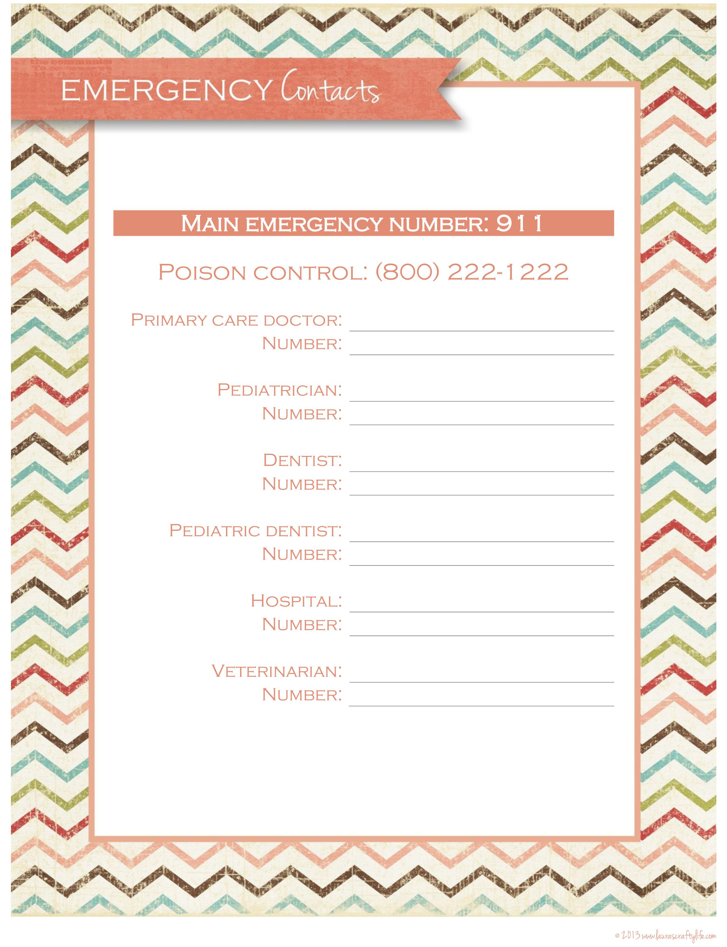 Day 2 Emergency Contact Sheet Home Management Binder Emergency Contact Homemaking Printables