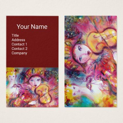 HARLEQUIN VIOLIN PLAYER MusicDecorTheater Artist Business Card