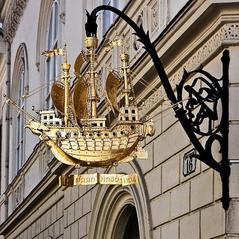 The Golden Ship Restaurant sign, Győr, Hungary, by LaFoRg