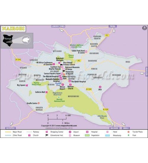 Buy nairobi map city maps pinterest nairobi city maps and buy nairobi map gumiabroncs Choice Image