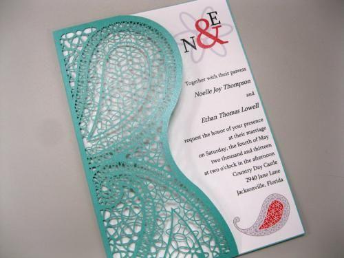 Laser cut wedding invitation pocket with swirled, paisley design.