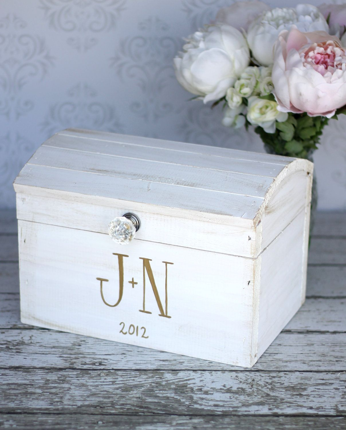 wood wedding card holders%0A White Washed Wooden Wedding Card Box Trunk  Vintage Shabby Chic Wedding  Decor  White  Gray  Silver  White Wedding  Wooden Money Box