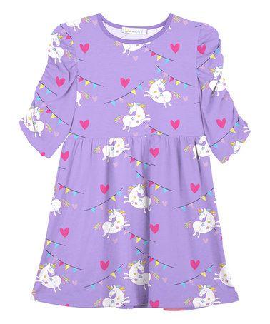 d854642166db Loving this Purple Unicorn Heart A-Line Dress - Toddler & Girls on #zulily!  #zulilyfinds