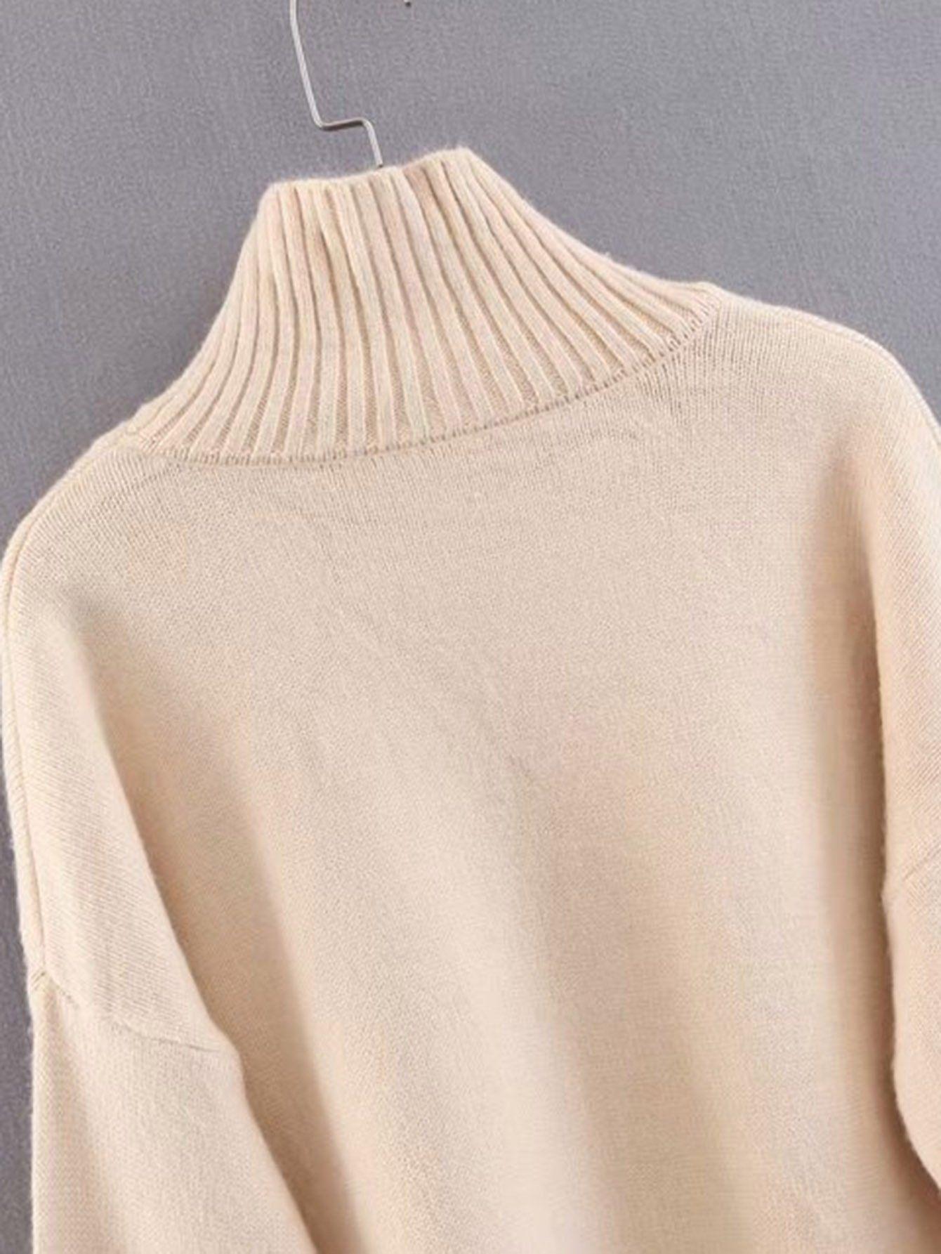 3a81e737bb8 Drop Shoulder Slit Hem Sweater Dress Slit Shoulder Drop