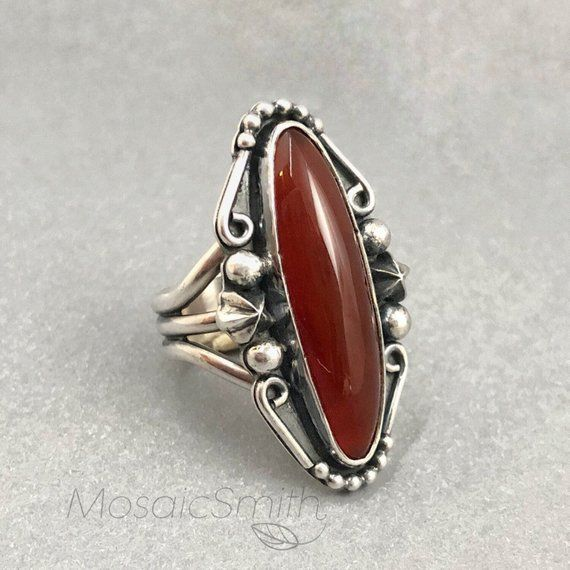 d3de482f8 Red Stone Ring, Star Theme Size 7, Sterling Silver and Carnelian Long Ring  with Wide Band, Hand Fabr
