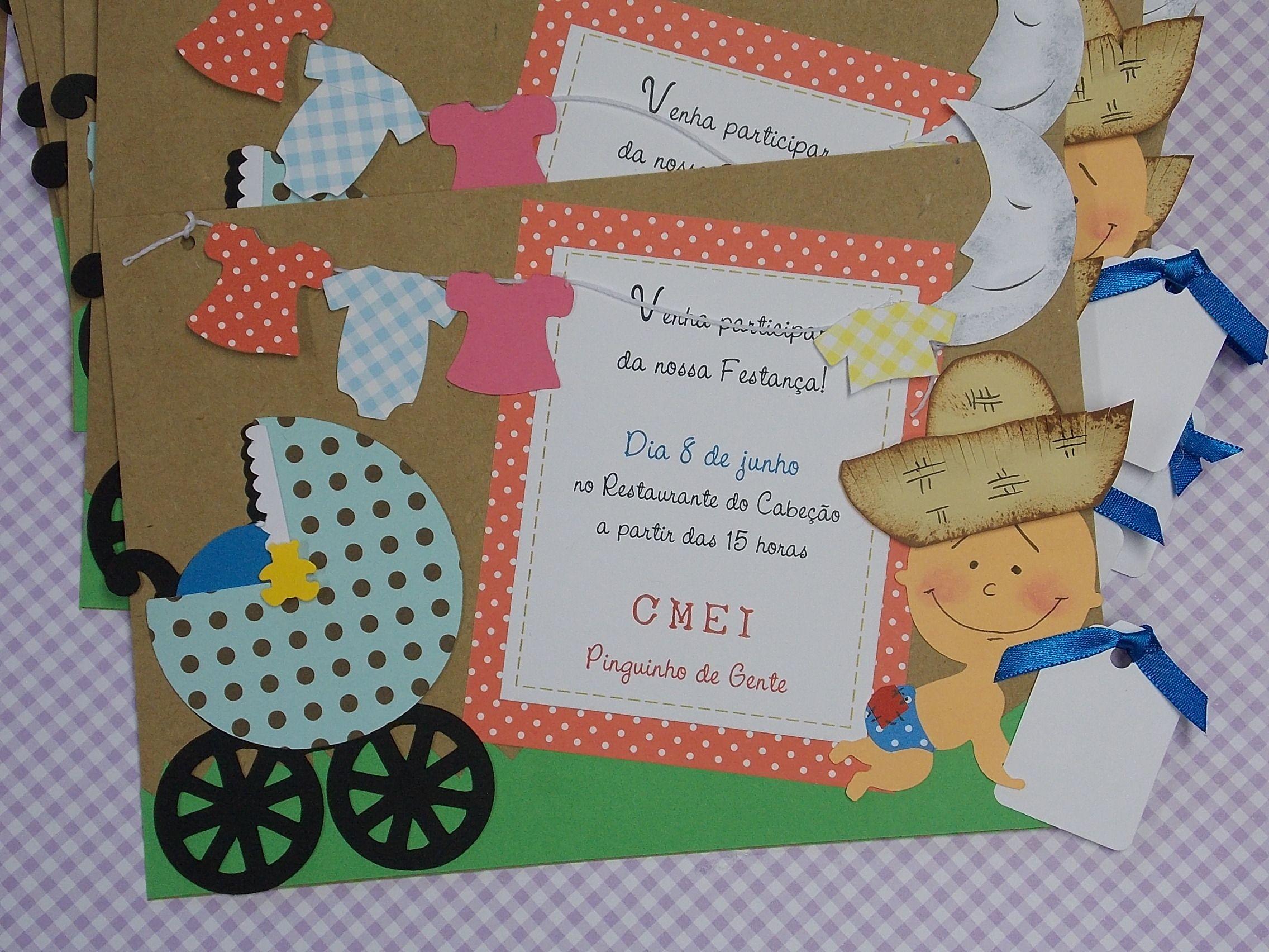 Chá De Bebê Temático Festa Junina Convite Chá De Bebê