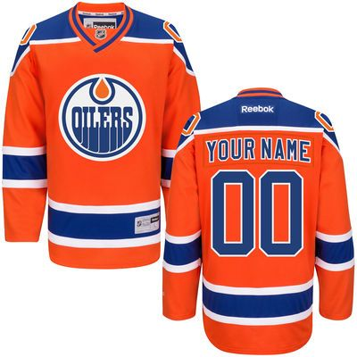 8bd413a5b Men s Reebok Orange Edmonton Oilers Custom Premier Alternate Jersey sewn on any  name and number on the jerseys
