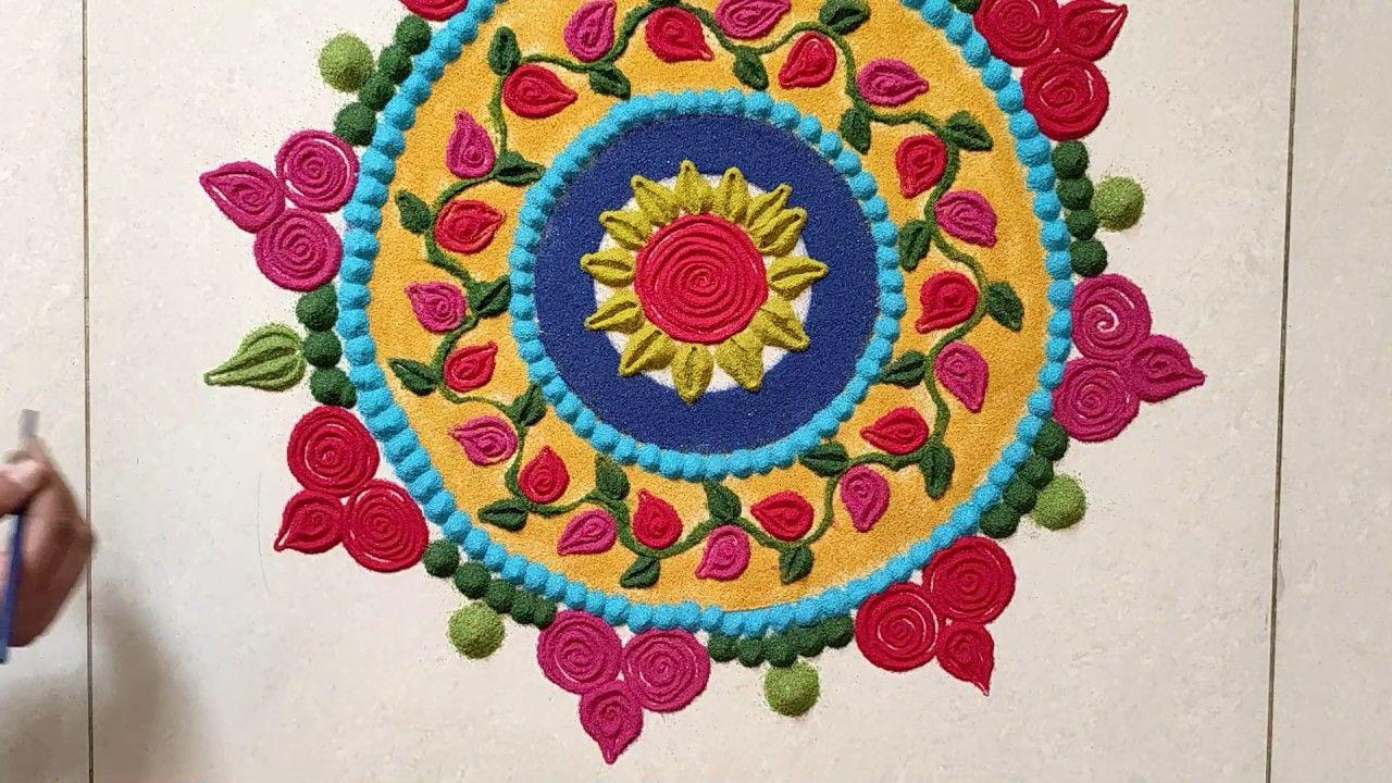Beautiful Rose flower Rangoli design for New Year 2020