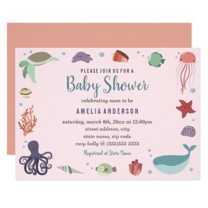 Sweet sea creatures coral baby shower invitation stopboris Images