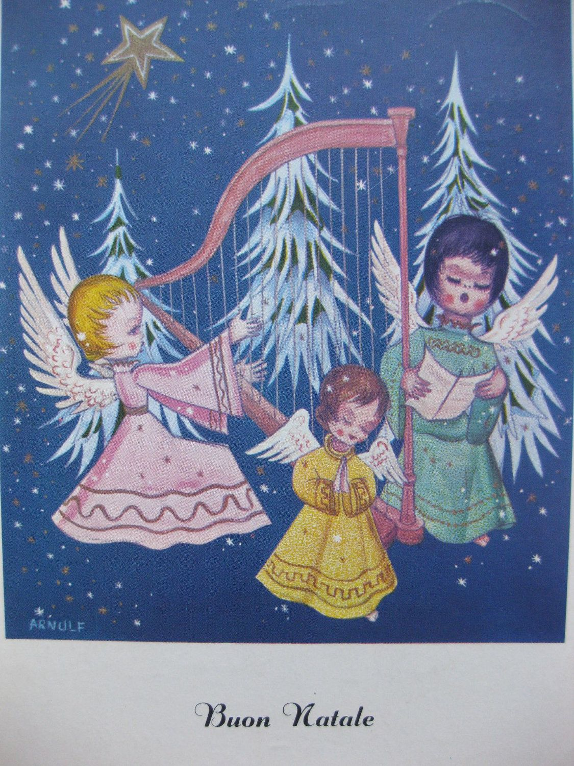 And All The Little Angels Will Sing Cute Vintage Christmas Angel