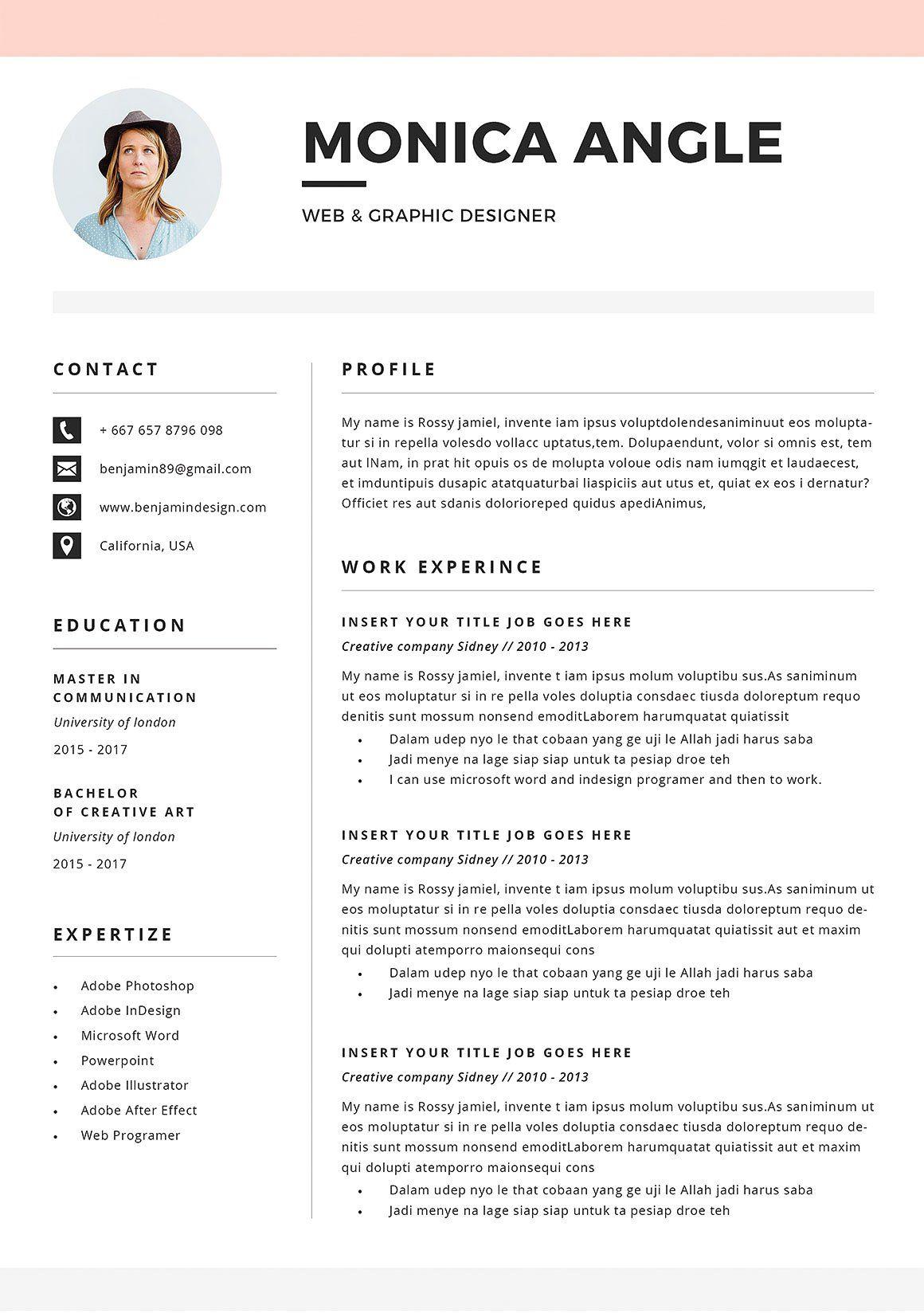 Resume/CV Monica Resume cv, Resume, Cover letter for